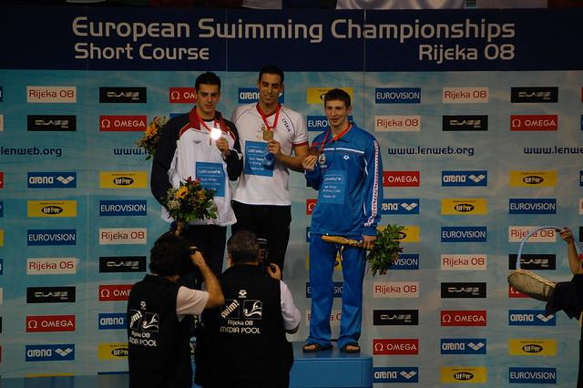 Rijeka 2008 Men's 100 butterfly medal podium