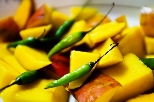 Green Chillies and Mangoes