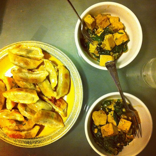 Dumplings and Spinach Tofu Curry