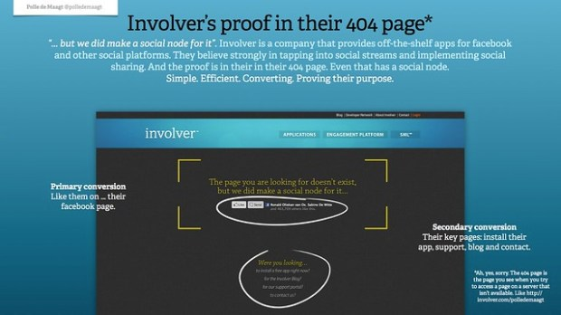 Involver's proof in their 404 page