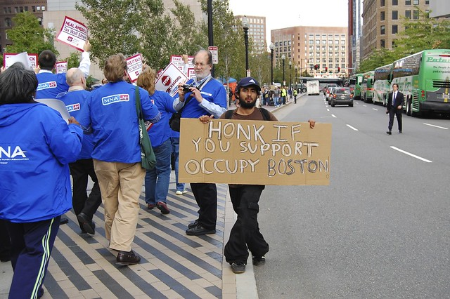 Honk if you support Occupy Boston