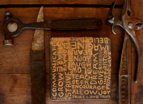 some sweet antique tools & my old painted box by denise carbonell