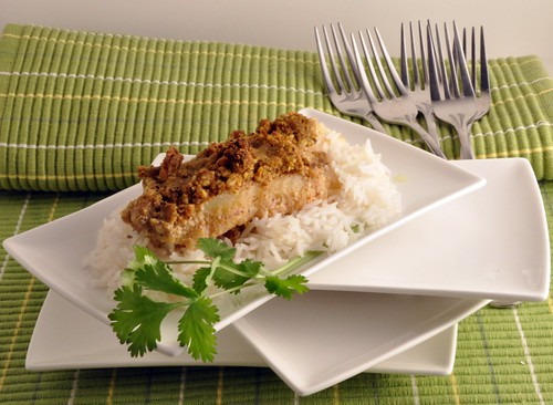 Almond encrusted cod