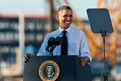 U.S. President Obama Speaks at Intel's Fab 42