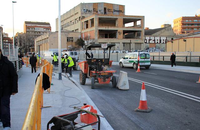 Pont del Treball - Trabajos en el puente nuevo - 07-02-12