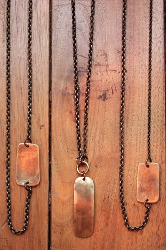 hand hammered brass tags on brass chains by denise carbonell