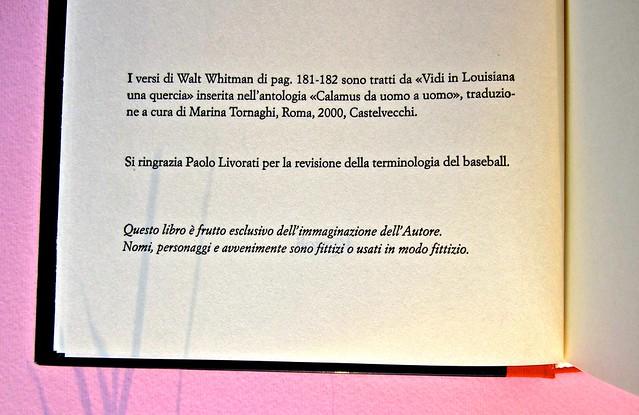 Chad Harbach, L'arte di vivere in difesa. Rizzoli 2011. Art director Francesca Leoneschi; graphic designer: Andrea Cavallini. Colophon (part.), 2