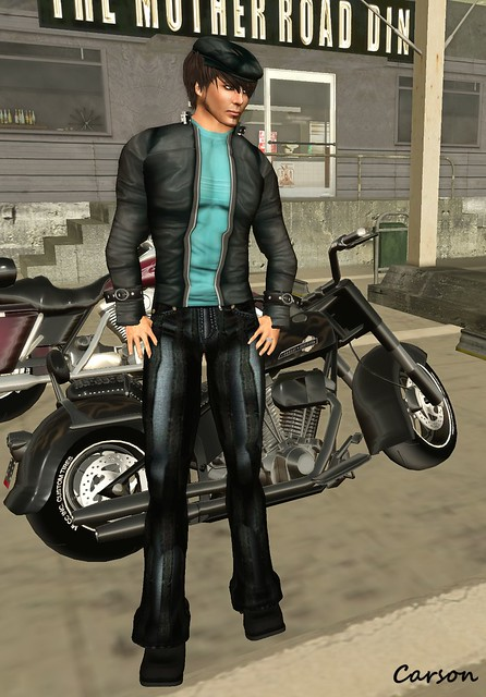 b[ELLE]issima!  - Leather Jacket w Teal Shirt, Striped Leather Pants and Leather Newsboy Cap