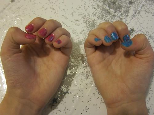 Pink & Blue Glitter Nails