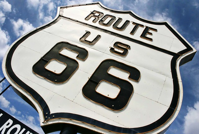 Giant Route 66 sign for the National Route 66 Museum in Elk City, OK. Photo copyright Jen Baker/Liberty Images; all rights reserved, though pinning to this page is okay.