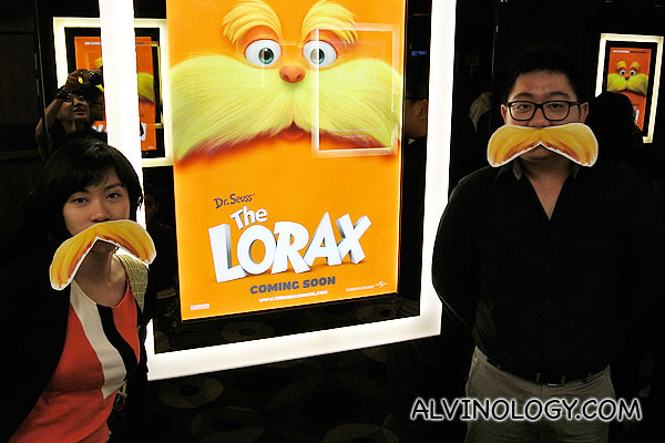 Rachel and I grew an orange mustache each for The Lorax preview