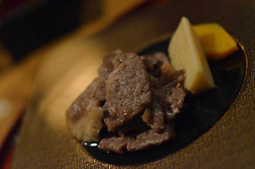 Kumamoto Gyuniku Sirloin - very tender! and juicy, with glorious fat. Thanks for the sake cause the alcohol cut down the fat so I could drink more. TEE HEE!