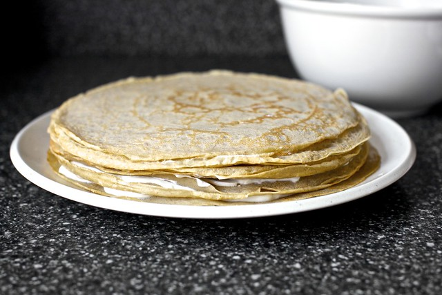 banana bread crepe stack, filled