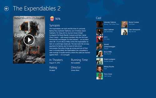 Windows 8 Metro Style App sample - Flixster showing the Expendables 2 page