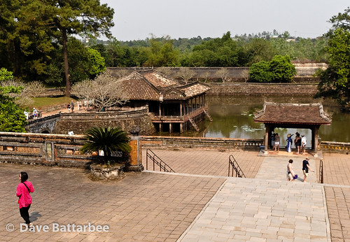 View of the Lake, the Xung Khiem Pavilion and the Du Khiem boat landing from the Palace courtyard.