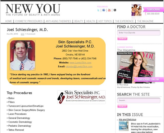 New You Magazine features a bio ofJoel Schlessinger MD.