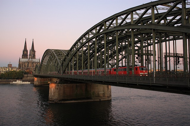 Dom, cathedral, Hohenzollern Bridge, Koeln, Cologne, Germany