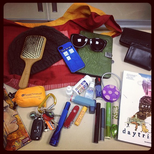 The contents of my bag. Blog post with explanation to follow.