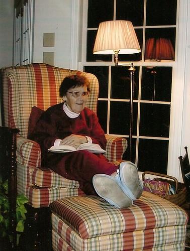 Mom's favorite pasttime--reading!