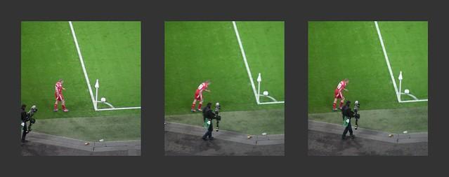 Craig Bellamy taking a corner at Wembley