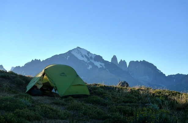 Tent pitched in view of the Torres del Paine