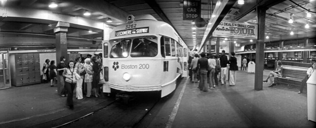 Trolley at Park Street MBTA station, Boston