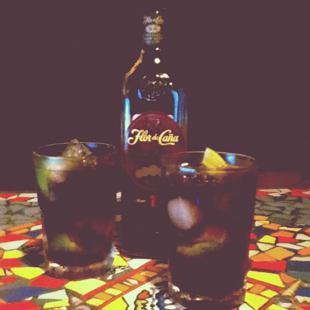 evening drinks of rum and coke