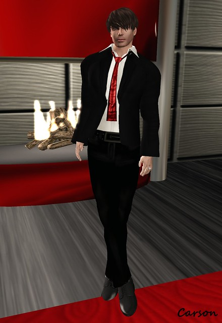 Vero Modero - Black Suit with Red Tie