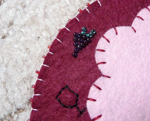 Wine O'Clock coaster with decorative seed bead detail by Samantha Halliwell
