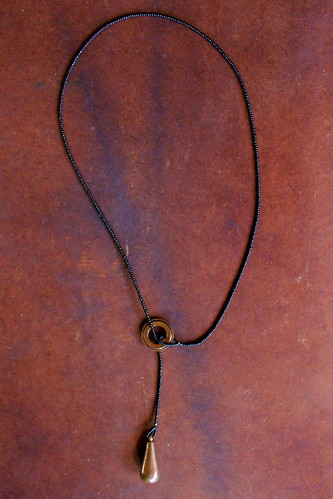 copper & glass bead lariat by denise carbonell