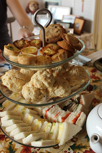 Sandwiches, lemon scones, mini quiches and homemade cookies!