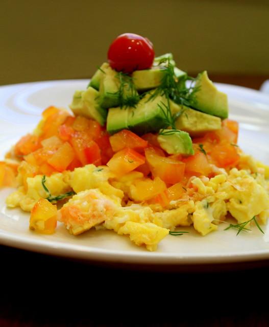 scramble, tomatoes and avocado