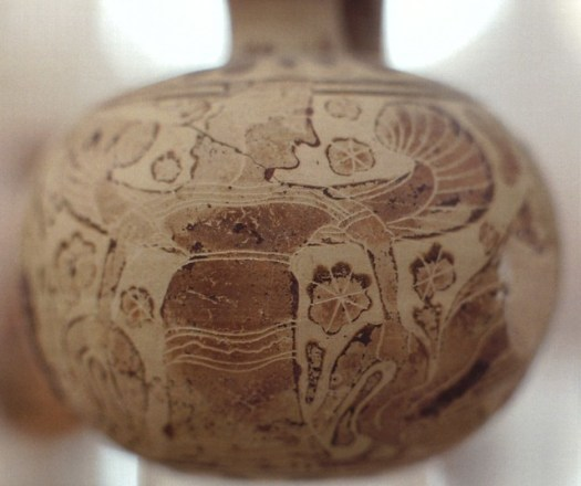 Corinthian vase with a Winged Artemis holding two animals from Heraion on Delos