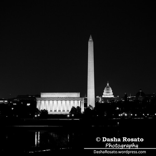 Washington DC Skyline with Lincoln Memorial, Washington Monument and the Capitol at Night
