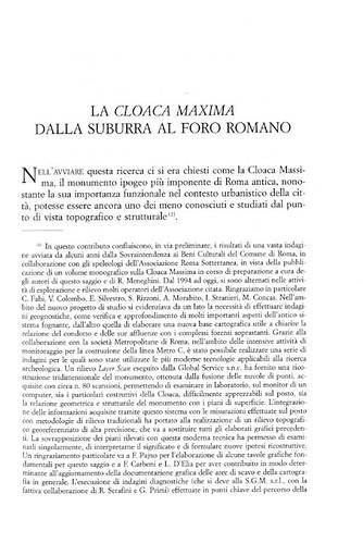 ROMA ARCHEOLOGICA - L. Antognoli e E. Bianchi, La Cloaca Maxima dalla Suburra al Foro Romano (con. le tavv. I-XXII f.t.), STUDI ROMANI (Genn.- Dec.,2009), pp. 89-125 [PDF]. by Martin G. Conde