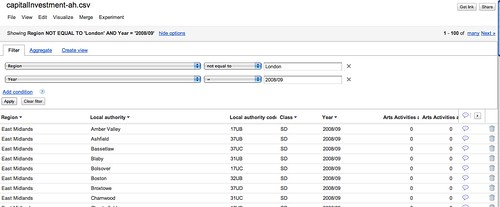 Google fusion table query filters
