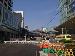 No.12 あべのハルカスとあべのniniの間に阪堺線が走っています