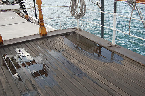water on poop deck