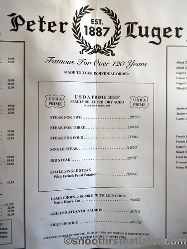 Peter Luger menu