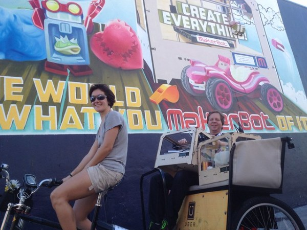 Awesome! @makerbot just rolled up in a pedicab