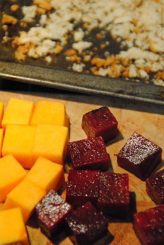 Beetroot, butternut squash and breadcrumbs