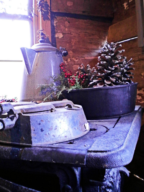 Wood stove with iron and coffee pot on it and a dutch oven filled with Pine cone holiday decoration