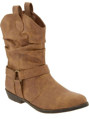 faux leather, mid-calf cowboy boots - tan