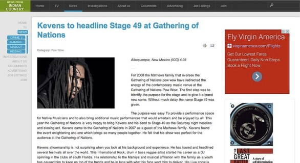 Kevens to headline Stage 49 at Gathering of Nations - Indian Country News