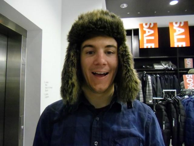 Landon in a furry hat