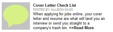 cover letter check list
