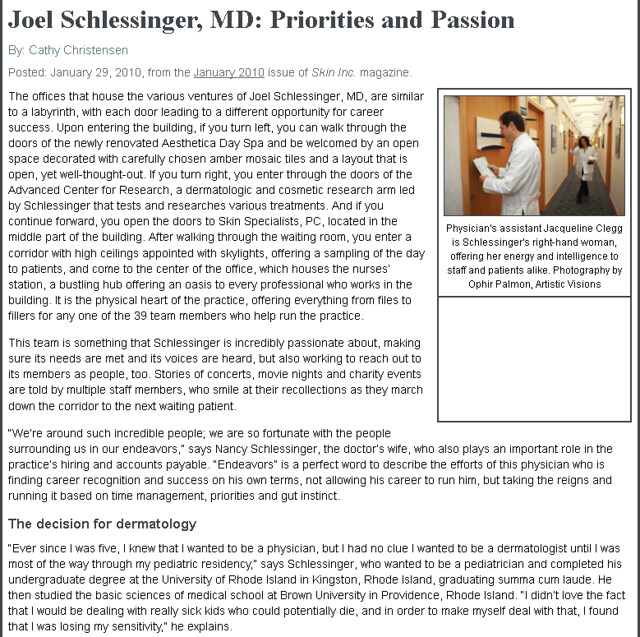 Skin Inc - Joel Schlessinger, MD: Priorities and Passion