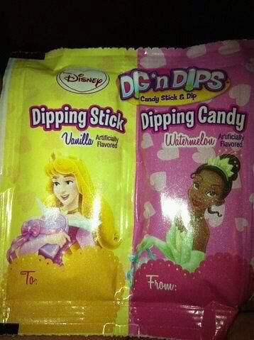 white princess on vanilla candy package; black princess on watermelon candy package