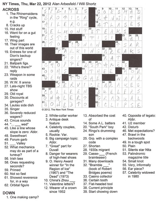 NY Times Puzzle - Thursday, March 22,2012
