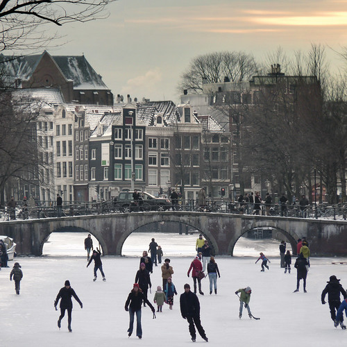 Amsterdam's canals become all-natural ice-skating venues